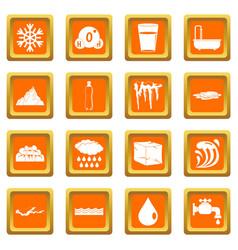 water icons set orange vector image