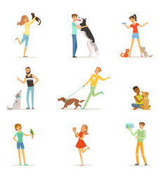 Happy people having fun with pets man and women vector
