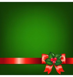 Christmas red ribbons with holly berry vector