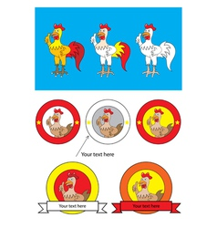 Rooster cartoon and logo vector