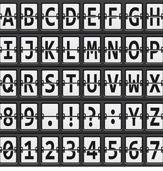 Alphabet of black and white mechanical panel vector