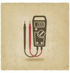 Digital multimeter symbol old background vector