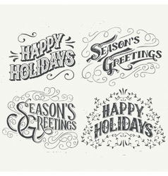 Happy holidays hand drawn typographic headlines vector