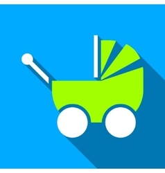 Baby pram flat long shadow square icon vector