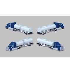 Dark-blue heavy truck with silver tank-trailer vector
