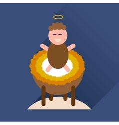 Flat icon with long shadow newborn jesus christ vector