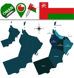 Oman map with named divisions vector