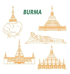 Ancient buddhist temples of burma thin line icons vector