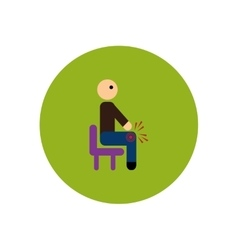 Stylish icon in color circle man knee pain vector