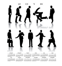 A 2018 calendar with 10 businessmen silhouettes vector