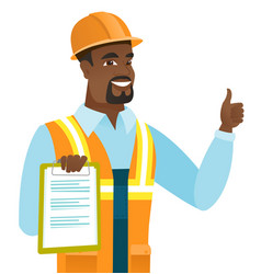African builder with clipboard giving thumb up vector