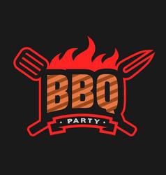 Barbecue party logo emblem vector