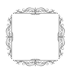 Black square frame with floral patterns vector