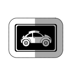 black square with sport car side inside vector image