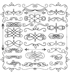 Black vintage hand drawn swirls collection vector