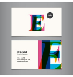 Business card template letter e vector