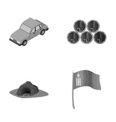 Car wooden barrels and other monochrome icon in vector