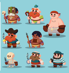 cartoon aborigine shaman pirate game sprite cute vector image vector image