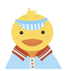 cartoon portrait of a duckling stylized happy vector image