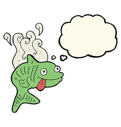 Cartoon smelly fish with thought bubble vector