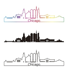 Chicago skyline linear style with rainbow in vector