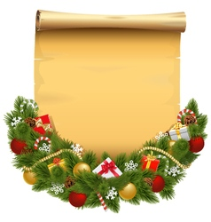 Christmas decoration with scroll vector