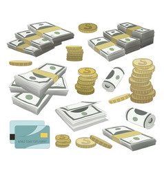 Collection of money set vector