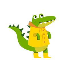 Cute cartoon crocodile character walking wearing vector