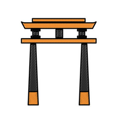 Drawing japan gate torii architecture landmark vector
