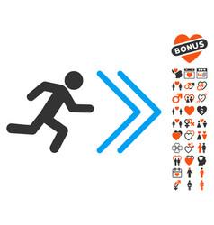 Exit direction icon with love bonus vector