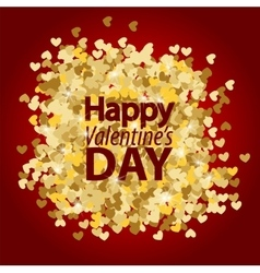 Golden glitter heart red background vector