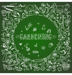 Hand drawn garden icons background vector
