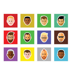 icon of faces on black background vector image