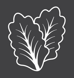 lettuce line icon vegetable and salad leaf vector image