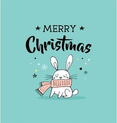 Merry christmas greeting cards with bunny vector