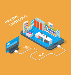 online mobile shopping concept 3d isometric view vector image