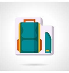 School bag and pencil box flat icon vector image