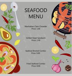 Seafood menu flat design vector