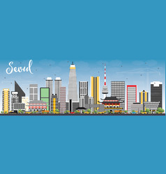 Seoul korea skyline with color buildings and blue vector