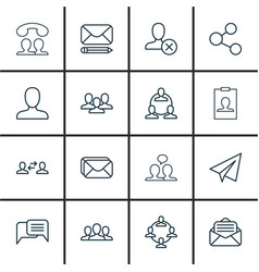 set of 16 communication icons includes speaking vector image vector image
