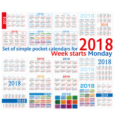 Set of simple pocket calendars for 2018 two vector