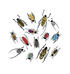 Sketch of funny colorful beetles for your design vector image