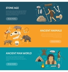 Stone age banners vector