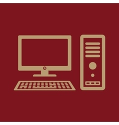 The computer icon pc symbol flat vector