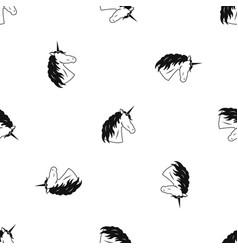unicorn pattern seamless black vector image