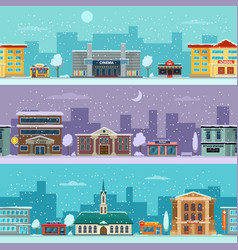 urban landscape in winter season snowy weather vector image