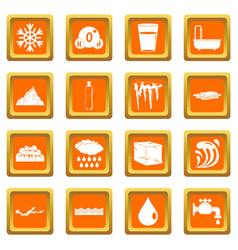 water icons set orange vector image