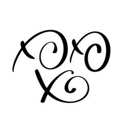 xo-xo-xo christmas calligraphy greeting vector image