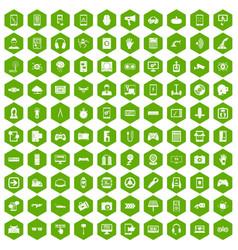 100 gadget icons hexagon green vector
