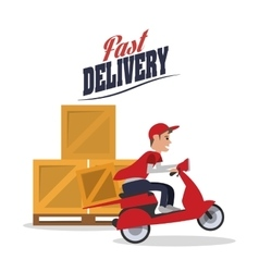 Motorcycle box package delivery icon vector